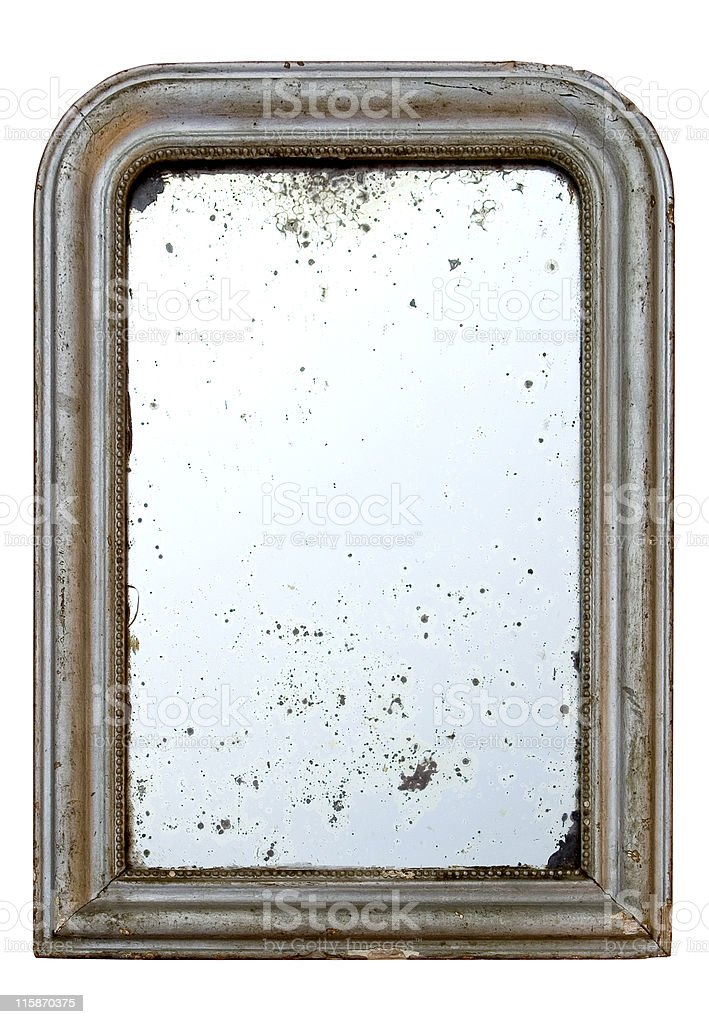 Ancient mirror wooden frame - stained stock photo