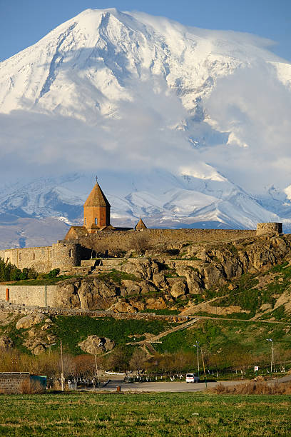 Ancient monastery in front of mountain Ancient monastery Khor Virap in Armenia with Ararat mountain at background. Was founded in years 642-1662. armenia country stock pictures, royalty-free photos & images