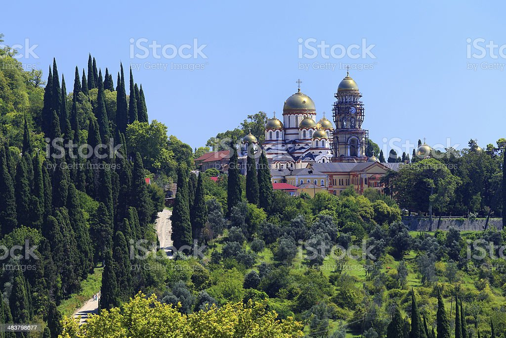 Ancient monastery in the city New Athos stock photo