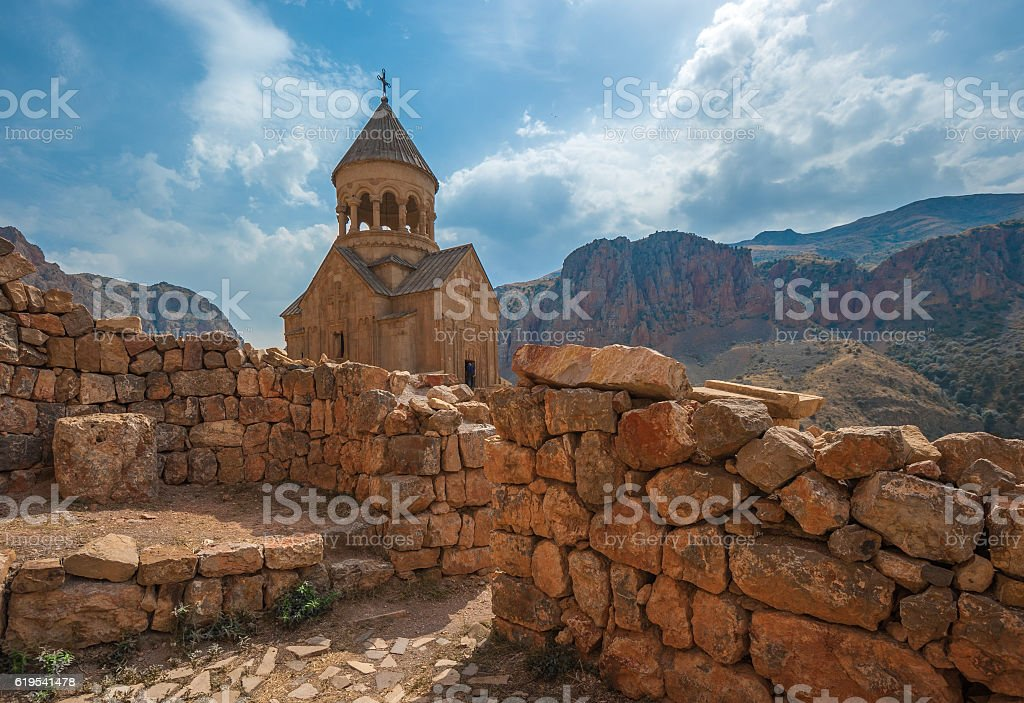 Ancient monastery Noravank, mountains in Amaghu valley, Armenia stock photo