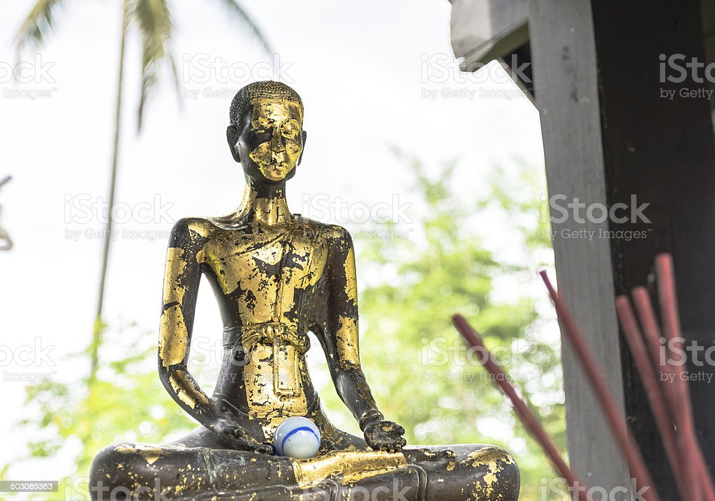 Ancient monk sculpture royalty-free stock photo