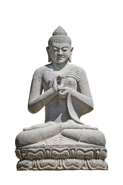 Antikes Denkmal des Betens in Asana Buddha isoliert auf weißem Hintergrund, Nahaufnahme, Details – Foto