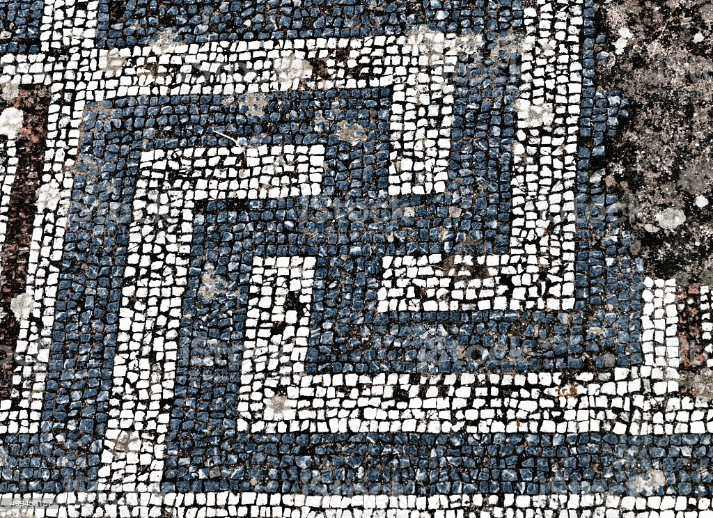 Ancient mosaic from Kos island, Greece stock photo