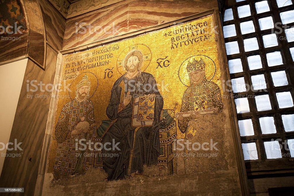 Ancient mosaic in Hagia Sophia, Istanbul, Turkey. royalty-free stock photo