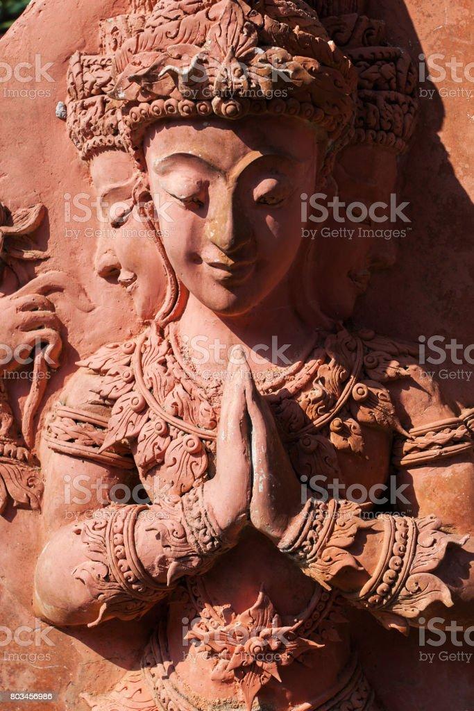 Ancient mosaic of Angkor Wat stock photo