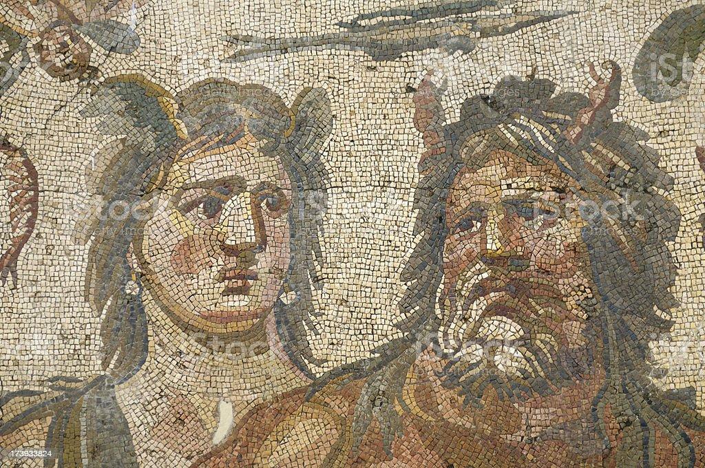 Ancient Mosaic of Oceanos And Tethys, Antakya, Turkey stock photo