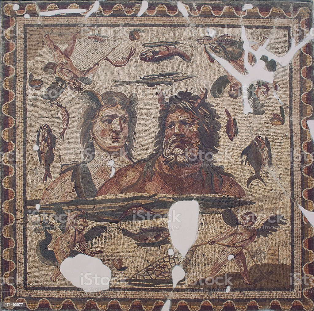 Ancient Mosaic of Oceanos And Tethys royalty-free stock photo