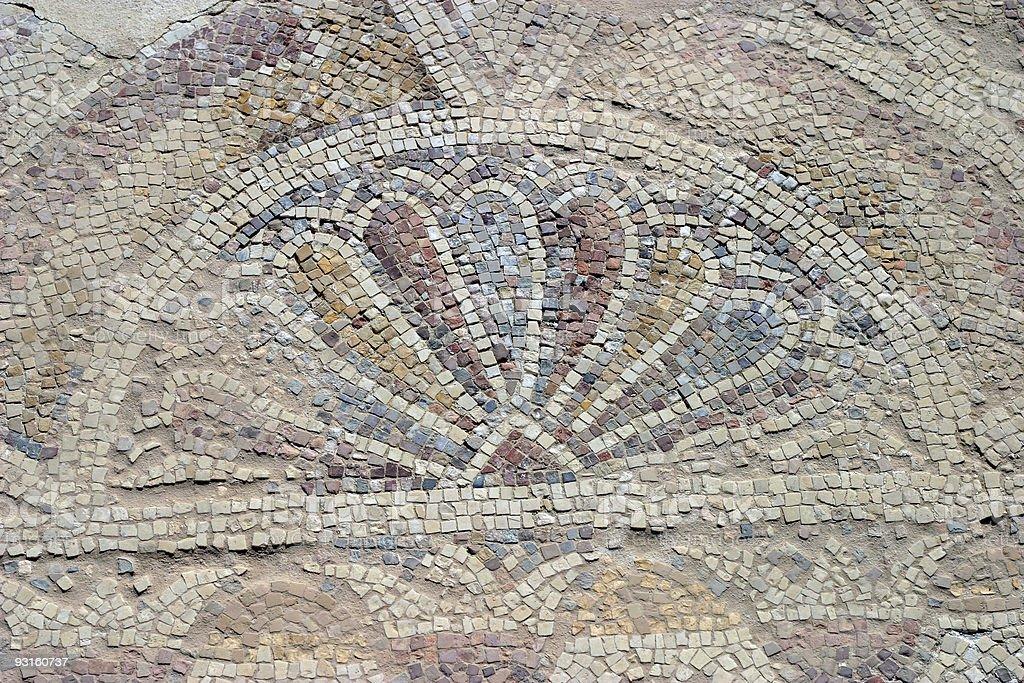 Ancient Mosaic - Peacock Tail royalty-free stock photo