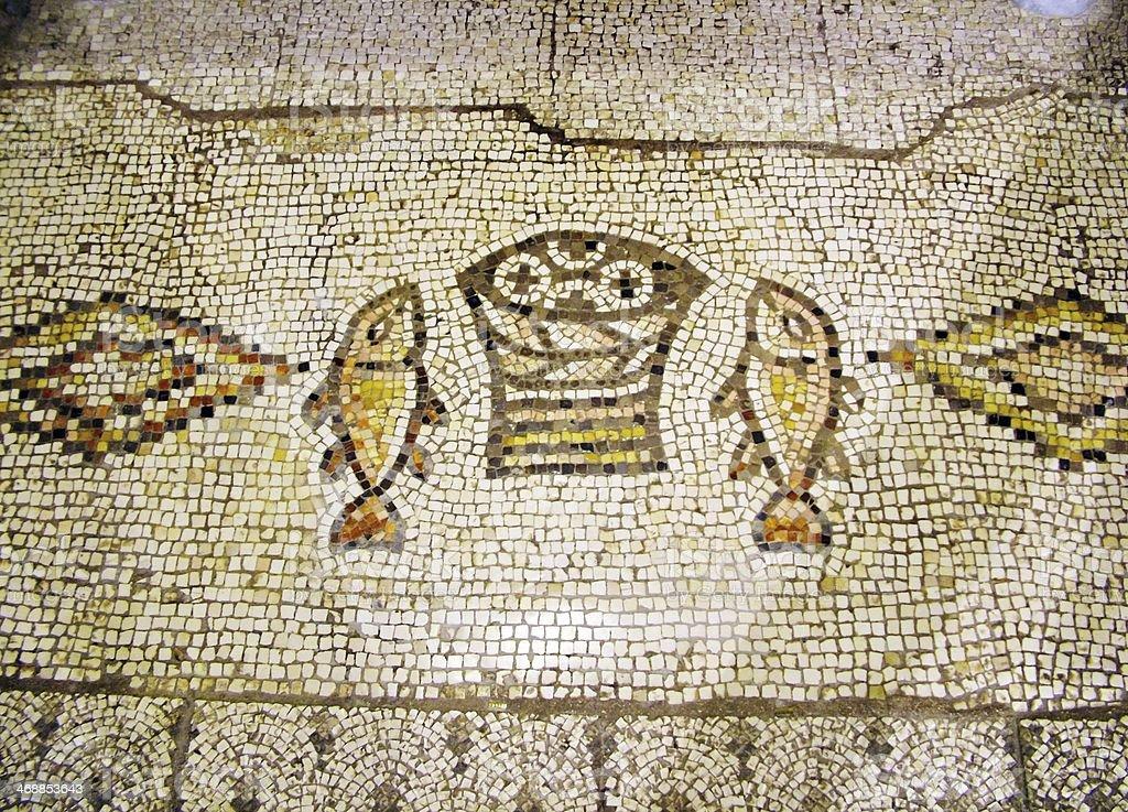 Ancient mosaic Tabgha, Israel royalty-free stock photo