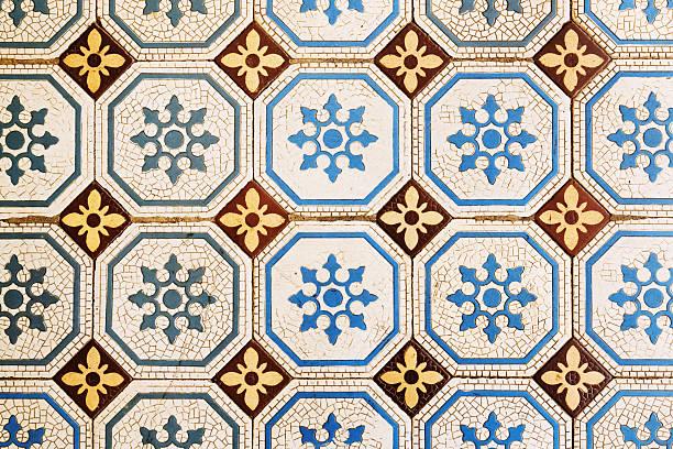 Ancient mosaic tiles stock photo