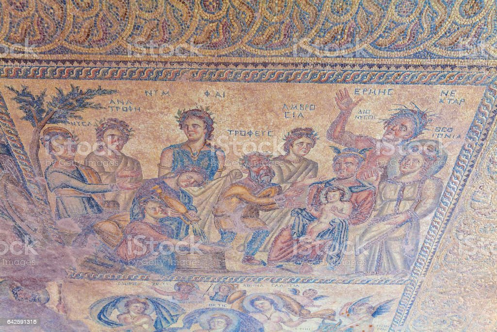 Ancient Mosaics in the Archaeological Site, Paphos stock photo