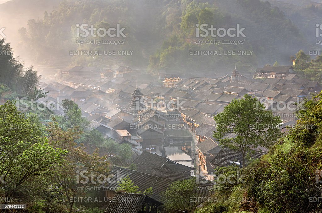 Ancient mountain village of Dong ethnic minority in southwest China. stock photo