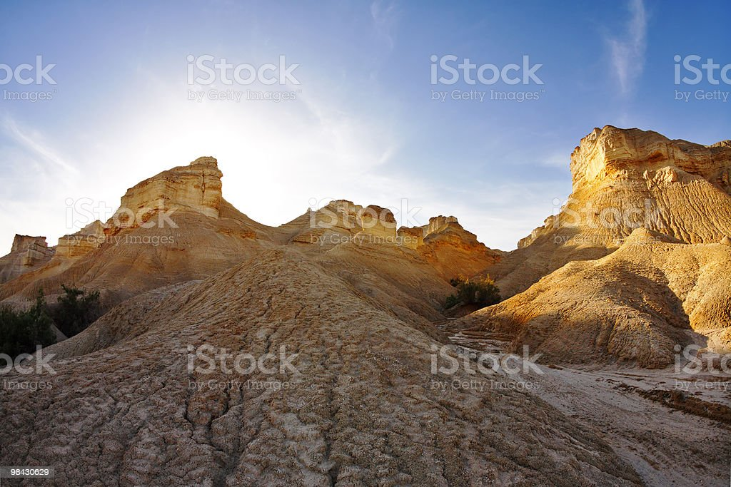 Ancient mountains in desert on a sunset royalty-free stock photo