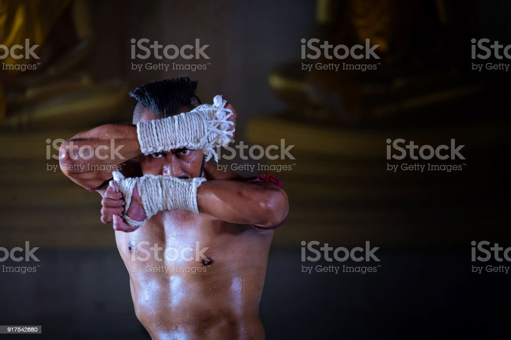Ancient Muay Thai, Thai is boxing fighter sport vintage style stock photo