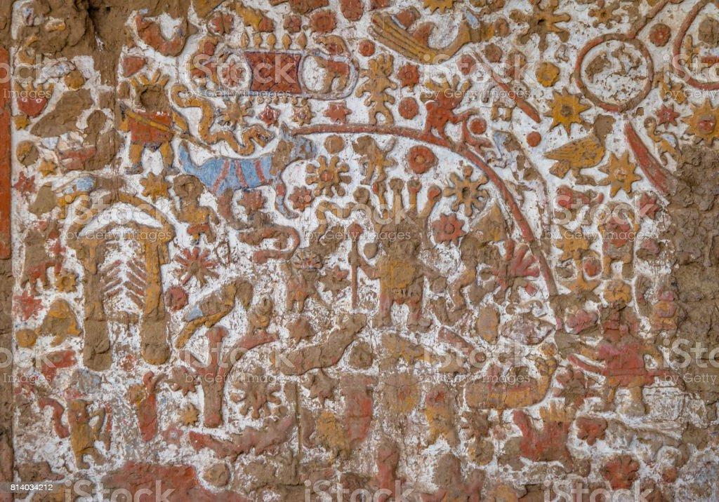 Ancient Mural at Huaca de la Luna archaeological site - Trujillo, Peru stock photo