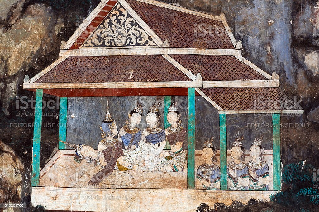 Ancient mural painting in Royal palace in Phnom Penh, Cambodia stock photo