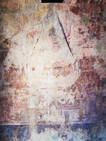 2020 - Ancient Mural Painting in Wihan at Wat Phuthaisawan , Ayutthaya historical park promote by UNESCO