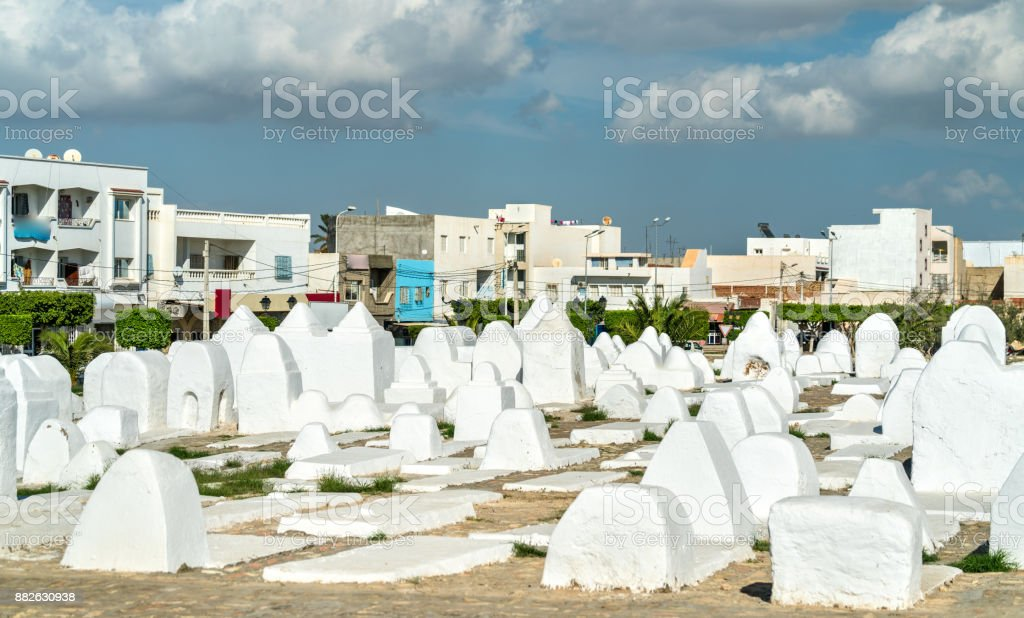 Ancient Muslim cemetery at the walls of Medina of Kairouan, Tunisia stock photo
