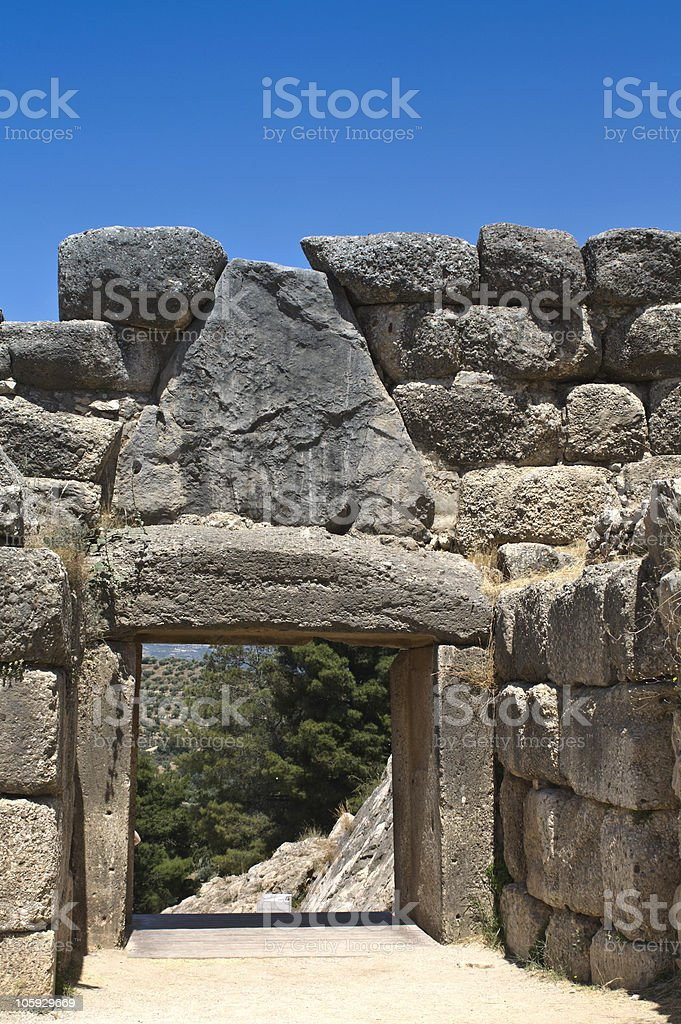 Ancient Mycenae, gate of the lions, Peloponnesus, Greece stock photo