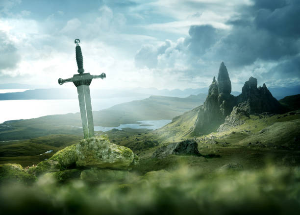 Ancient Mythical Sword Background stock photo