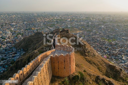 A wide-view shot of Nahargarh Fort in Jaipur, Rajasthan, India.