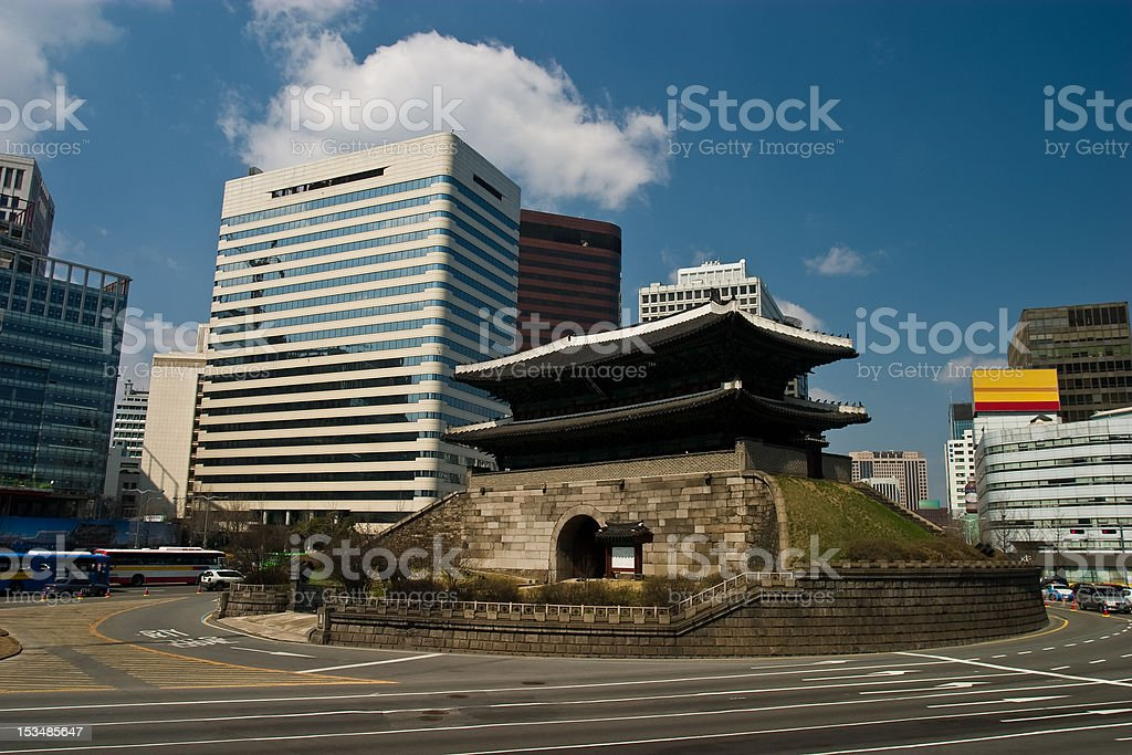 Ancient Namdaemun City Gate and Modern Skyscrapers stock photo