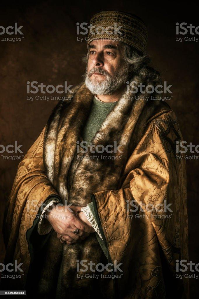 Ancient nobleman portrait stock photo
