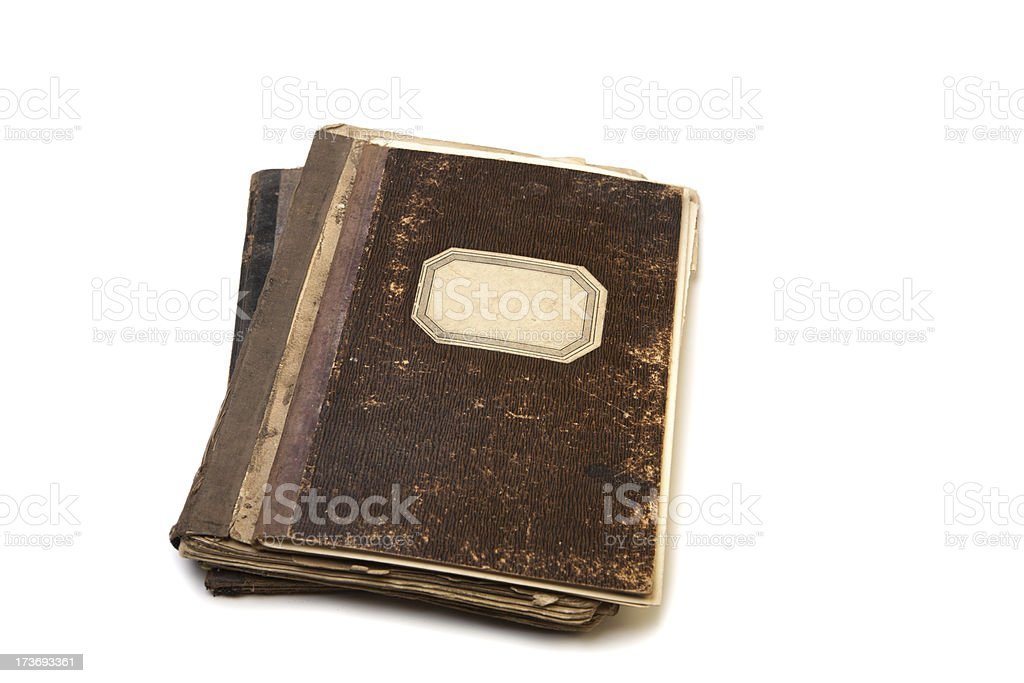 Ancient notebooks stock photo