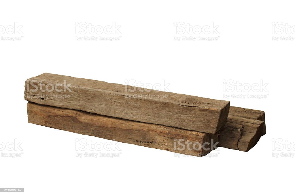 ancient oak beams on white stock photo