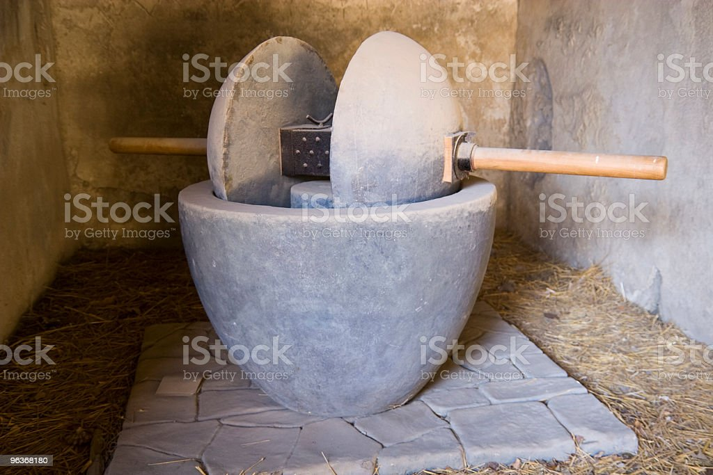 Ancient oil mill stock photo