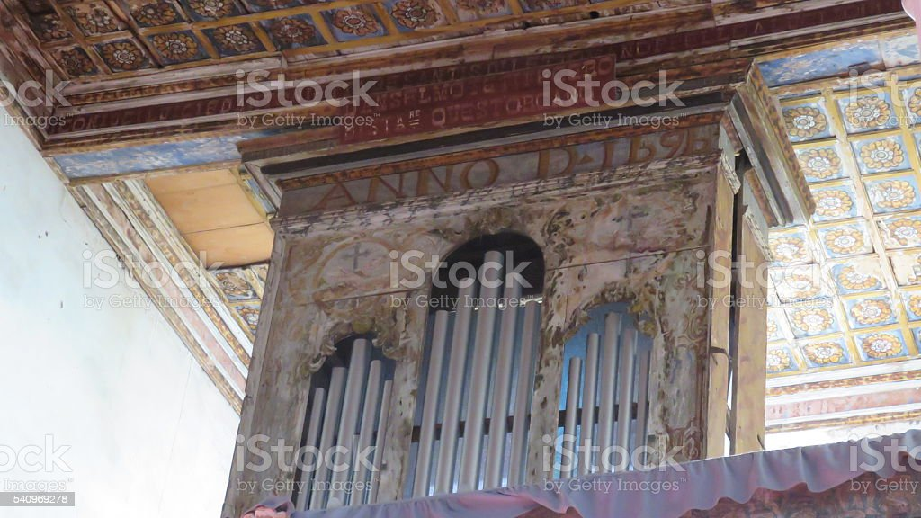 ancient old church organ stock photo