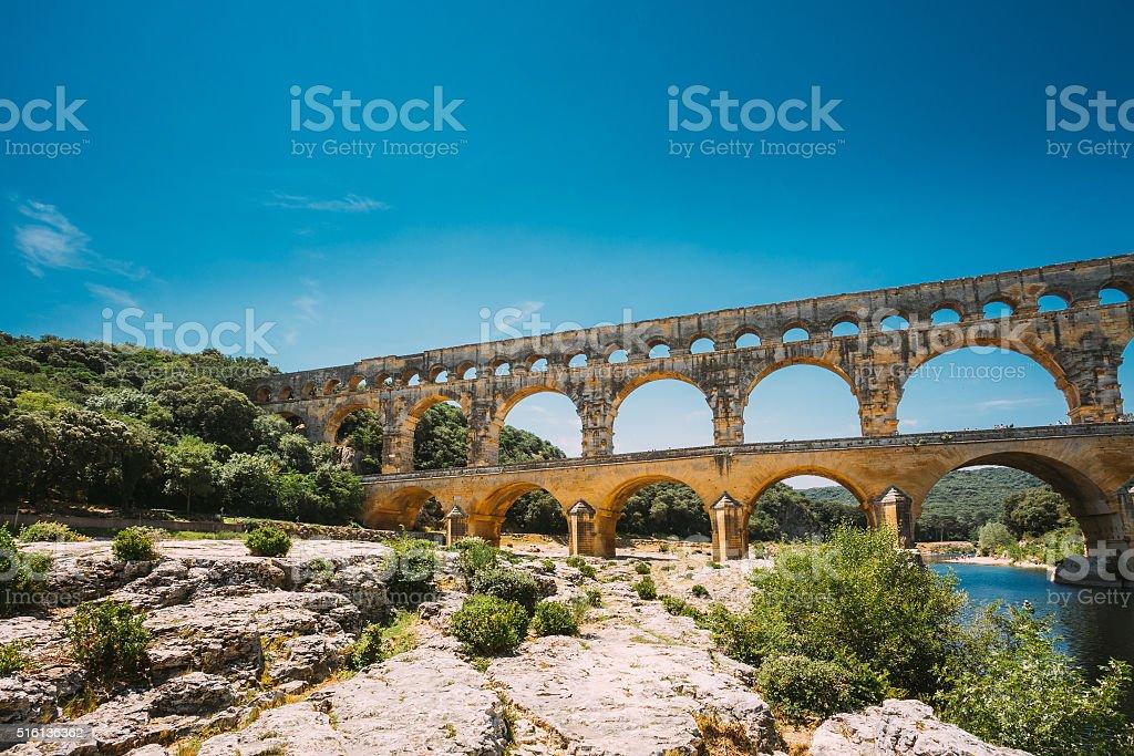 Ancient old Roman aqueduct of Pont du Gard, Nimes, France stock photo