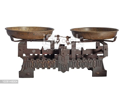 istock Ancient old scale, Vintage old brass weight scale 1028148304