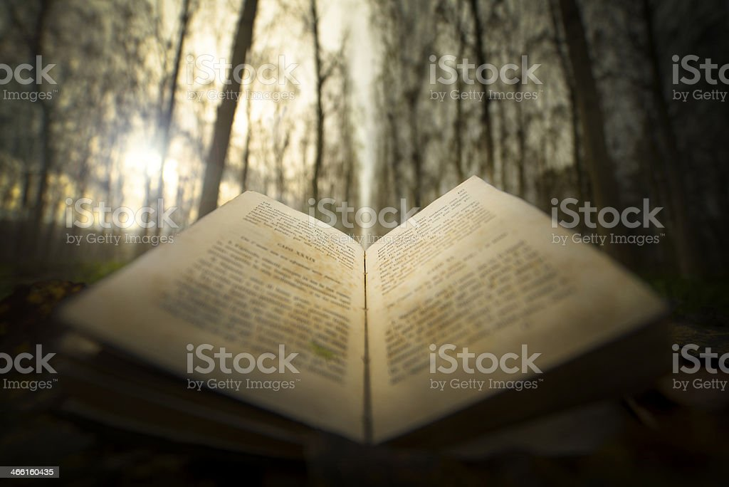 ancient open book with magic light stock photo
