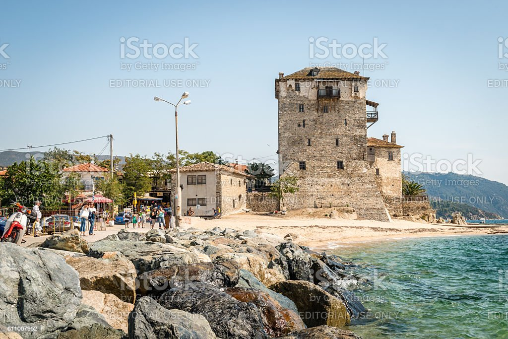 Ancient Ouranoupolis Tower on Athos peninsula in Halkidiki, Greece stock photo