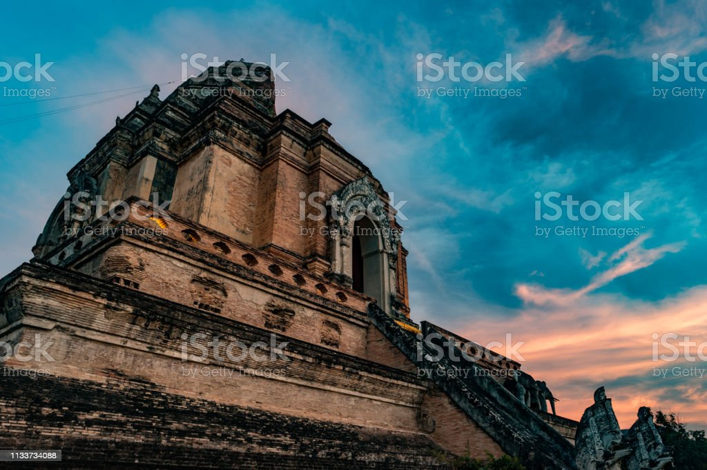 Ancient Pagoda build from brick at Wat Chedi Luang in Chiang Mai Thailand stock photo