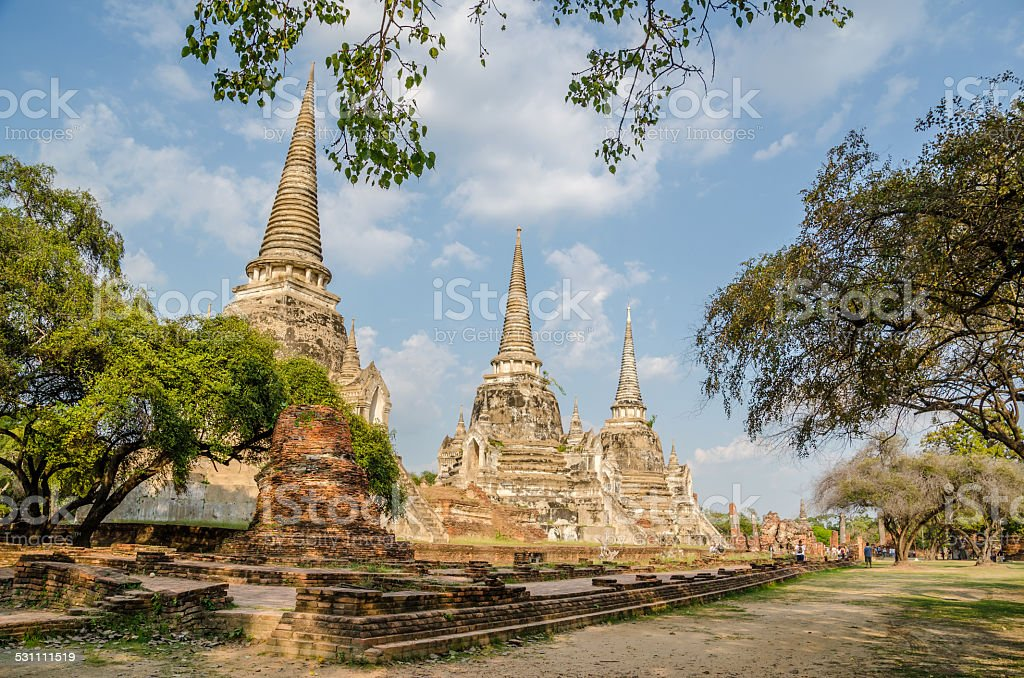 Ancient pagoda in Ayuthaya , Thailand stock photo