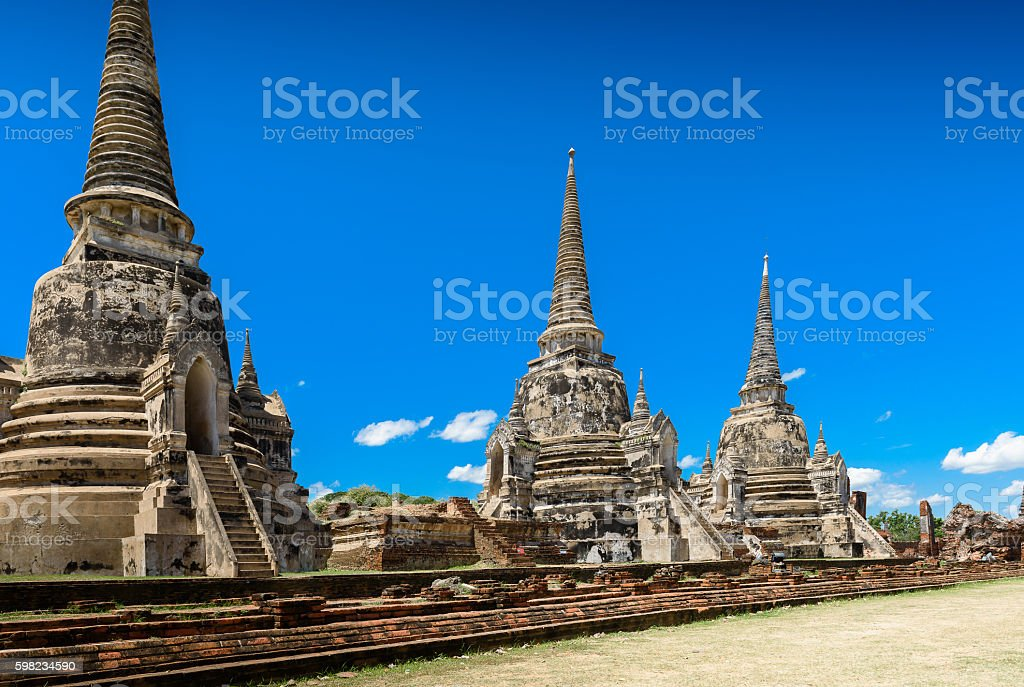 Ancient Pagoda in Wat Phrasisanpetch (Phra Si Sanphet). Ayutthay foto royalty-free