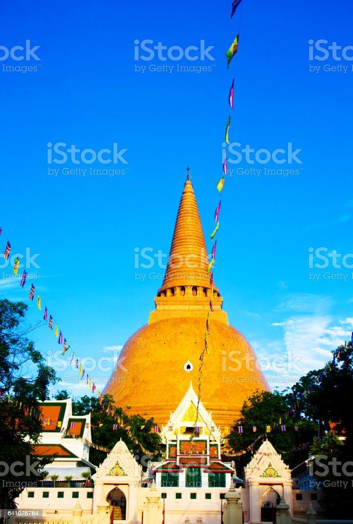 Ancient pagoda prapathom architecture in Nakhon Pathom ,Thailand stock photo
