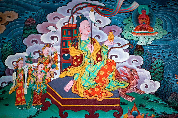 Ancient painted fresco at Buddhist monastery stock photo
