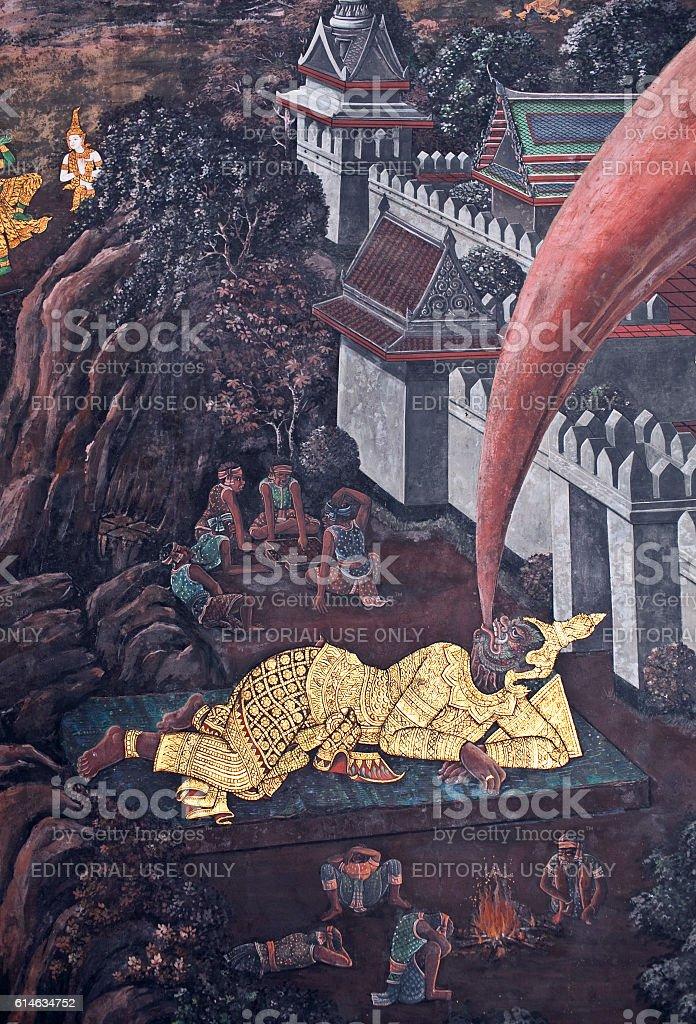Ancient painted fresco at Wat Phra Kaew, Bangkok stock photo