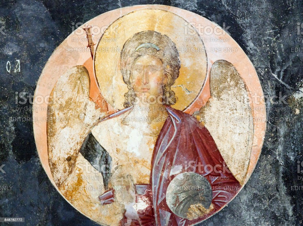 Ancient painted fresco in Chora Church in Istanbul, Turkey stock photo