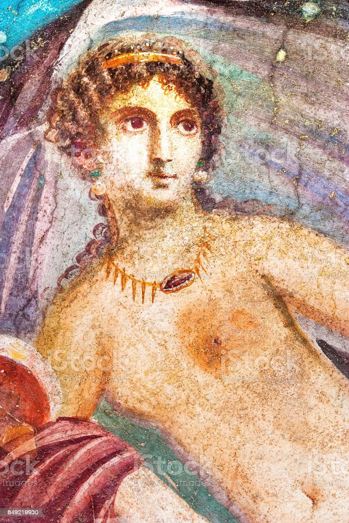 Ancient painted wall fresco of Venus at the ancient Roman city of Pompeii stock photo
