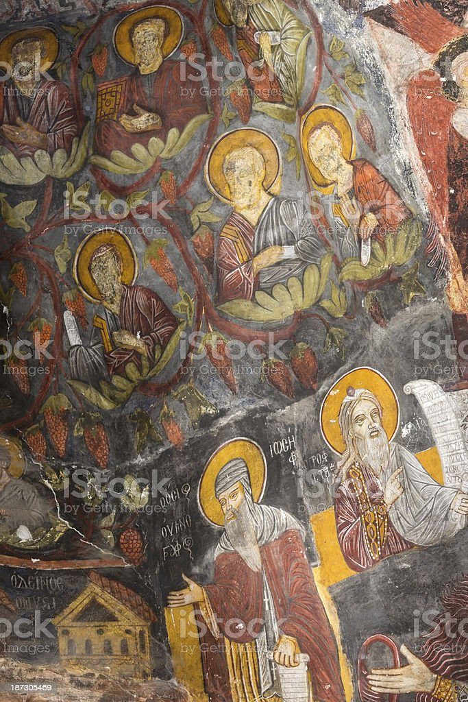Ancient Painting on the wall of Sumela Monastery royalty-free stock photo