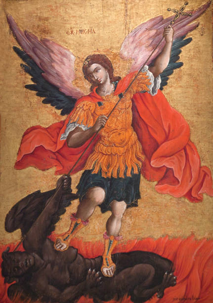 Ancient painting with Archangel Michael stock photo