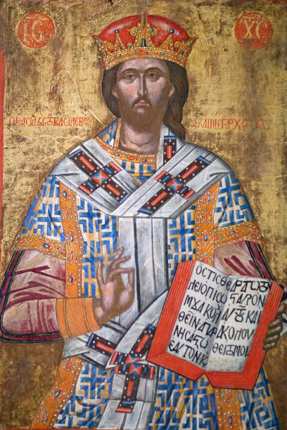 Ancient painting with Christ Great Saint Priest, 17-th cent. stock photo