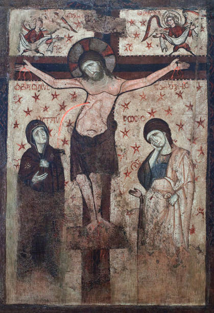 Ancient painting with Crucifixion, 16-th cent. stock photo