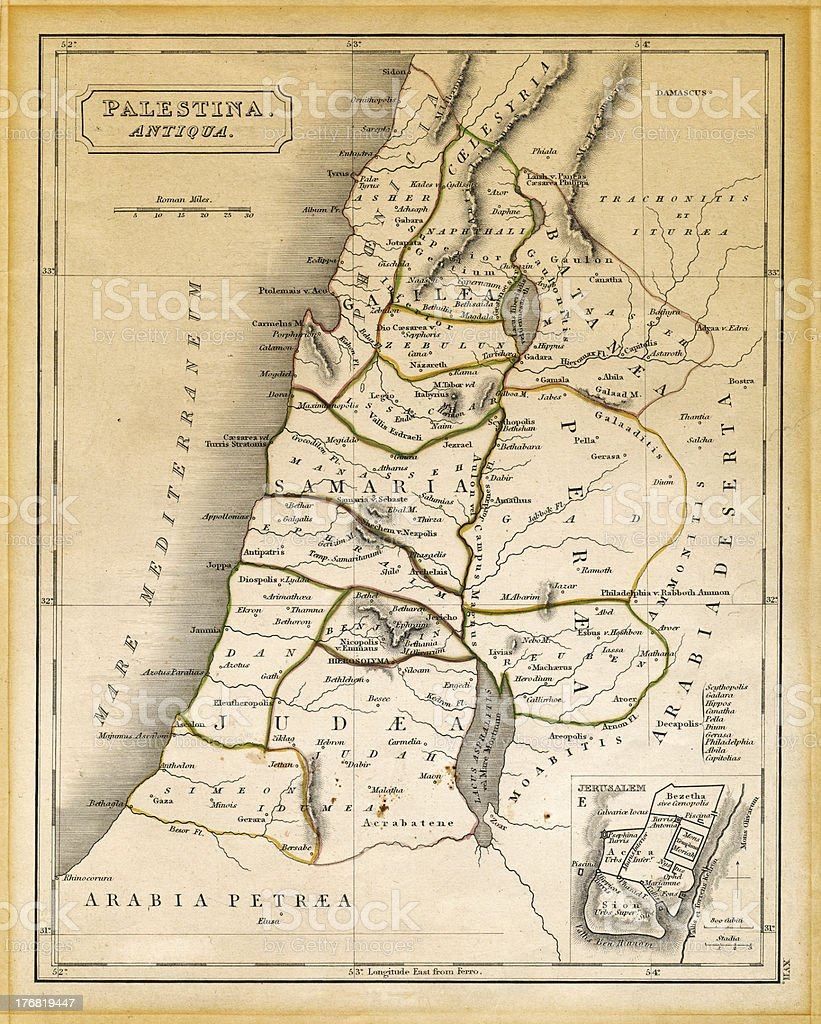 Ancient Palestine Map Printed 1845 royalty-free stock photo