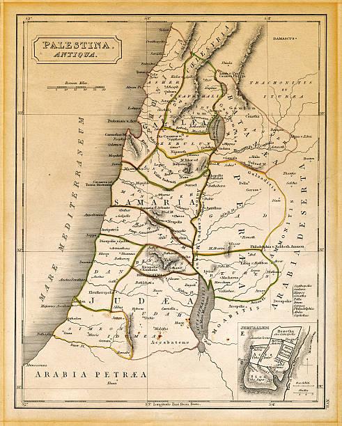 antiga palestina mapa impresso 1845 - israel - fotografias e filmes do acervo