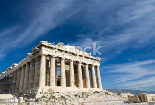 istock Ancient Parthenon in Acropolis Athens Greece on blue sky background 105866451